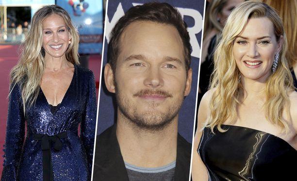 Näyttelijät Sarah Jessica Parker (vasemmalla), Chris Pratt ja Kate Winslet ovat onnistuneet takomaan kovia summia tv-sarjoista.