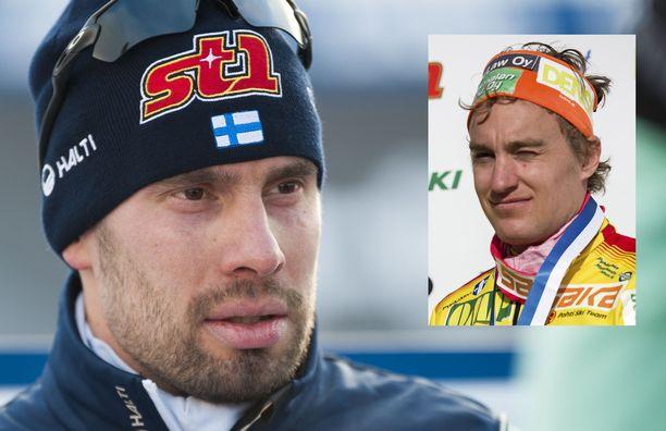 Lari Lehtosen (vas.) ja Heikki Korpelan välillä kipinöi SM-laduilla Vöyrillä.