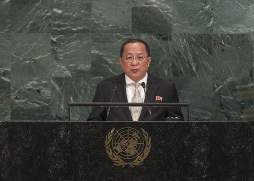 Pohjois-Korean ulkoministerin Ri Yong-hon mukaan Trumpin uhkaukset maan johtoa kohtaan ovat sodanjulistus. Kuva Rin puheesta YK:ssa lauantailta.