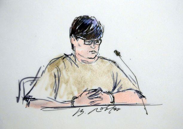 Enrique Marquez Jr. on epäiltynä terroriteon suunnittelusta. Oikeussalipiirros torstailta.