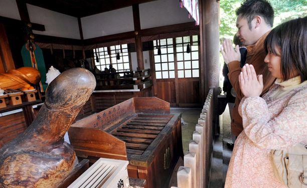 Japanilaispariskunta vieraili vuosittain järjestettävillä Honen fallosfestivaaleilla.