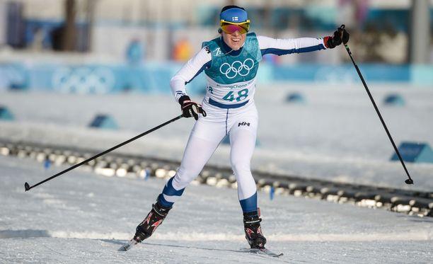Kirsta Pärmäkoski venytti maaliviivalla olympiapronssille.