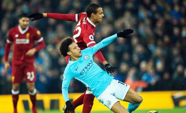 Manchester Cityn Leroy Sane haastaa Liverpoolin Joël Matipin Mestarien liigan puolivälierissä.