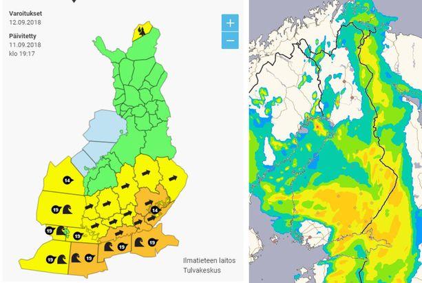 Vasemmalla kuva keskiviikon aalto-, tuuli- ja metsäpalovaroituksista, oikealla sadetutkan ennustekuva ensi yöltä kello 4.