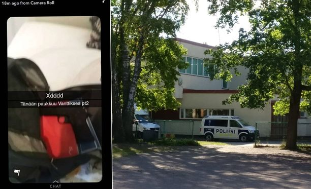 Kuva Vantaankosken koulun edustalta ja Snapchat-kuvasta.