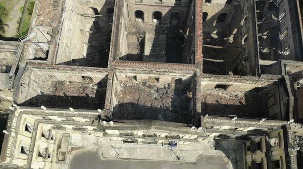 Ilmakuvat näyttävät, miten totaalinen museon tuho on.