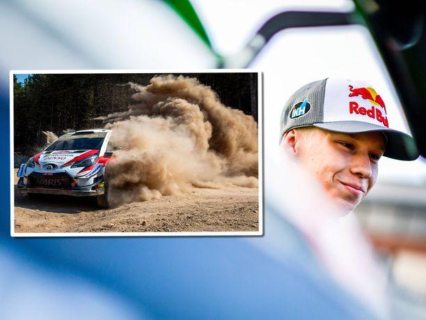 Kalle Rovanperä testaa Toyotan WRC-autoa Etelä-Ranskassa.