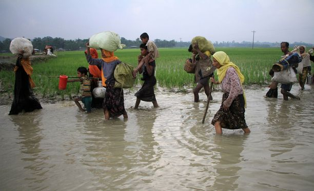Rohingya-muslimit pakenevat sankoin joukoin Myanmarista.