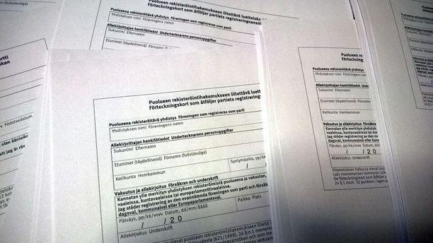 Jotta yhdistys voidaan merkitä puoluerekisteriin, sen on saatava kerättyä vähintään 5 000 kannattajakorttia.
