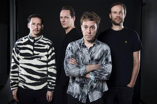Moon Shot -yhtyeen muodostavat Jussi Ylikoski (vas.), Henkka Seppälä, Ville Malja ja Mikko Hakila.