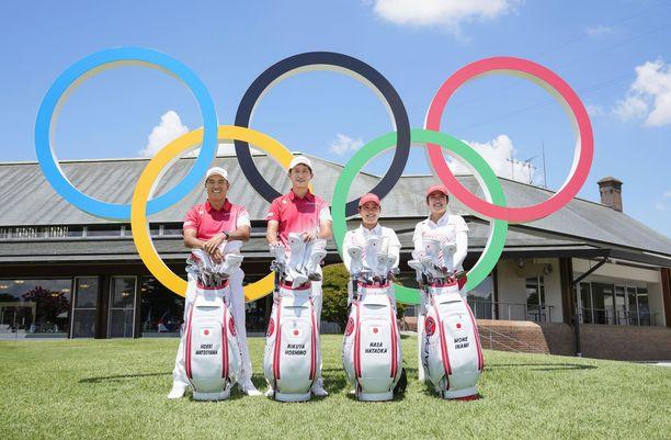 Japanin golffarit Hideki Matsuyama, Rikuya Hoshino, Nasa Hataoka ja Mone Inami poseerasivat Kasumigaseki Country Clubilla. Suurin osa japanilaisista golfareista ei koskaan pääse kentälle pelaamaan.