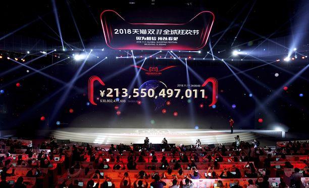 Alibaba juhli myyntiennätystään Kiinassa.