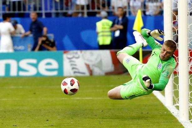 Jordan Pickford on torjunut Englannin maalilla jokaisessa ottelussa MM-kisoissa.