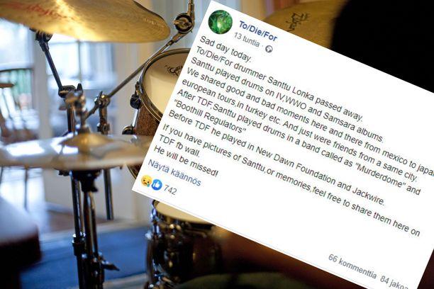 Rumpali Santtu Lonka on kuollut.