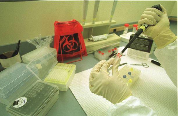 Rikospaikan lähistöltä löydetyistä vaatteista saatiin DNA-tunniste, joka oli sama kuin ryöstäjällä. Kuvituskuva DNA-analyysistä.