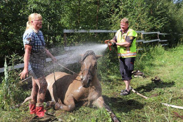 Valkeakosken paloaseman yksikkö sai apuja pelastusoperaatioon Teivon paloasemalta, jossa on erikoistuttu eläinpelastustehtäviin.