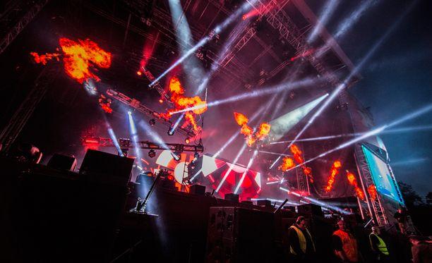 David Guetta esiintyi Ruisrockissa vuonna 2014.