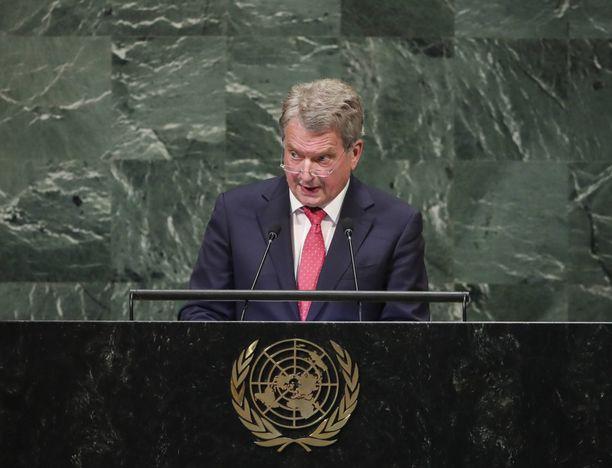 Tasavallan presidentti Sauli Niinistö ei pääse syyskuussa YK:n puhujanpönttöön New Yorkissa. Kuva vuodelta 2018.