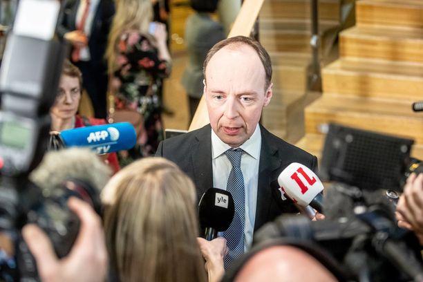 Perussuomalaisten Jussi Halla-aho kommentoi maanantai-iltana Ylen vaalikeskustelussa puolueen yhteistyötä FPÖ:n kanssa. Kuvituskuva.