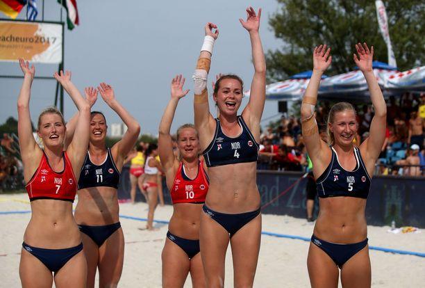Norjan rantakäsipallomaajoukkue voitti Euroopan mestaruuden vuonna 2017. Kuvituskuva.