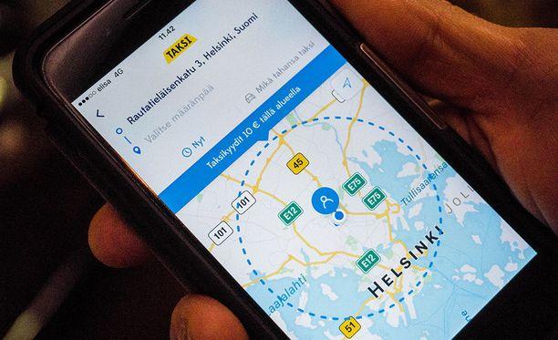 Kymmenen euron kiinteähintaisen taksin viiden kilometrin matkarajaus lasketaan linnuntietä.