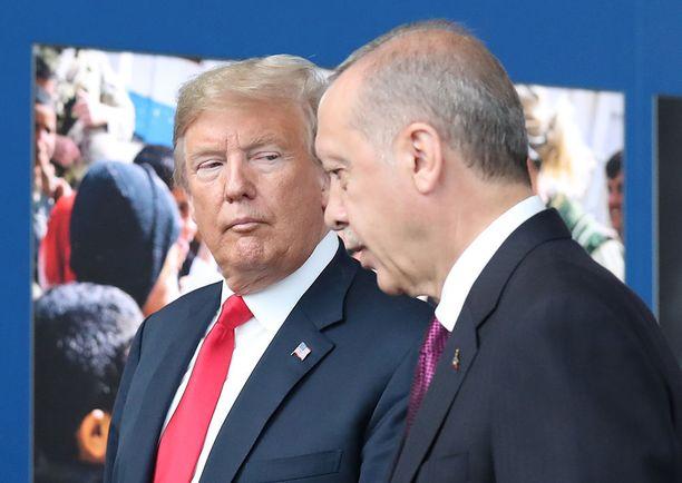Yhdysvaltojen presidentti Donald Trump ja Turkin Recep Tayyip Erdogan tapasivat heinäkuussa järjestetyssä Nato-kokouksessa Brysselissä.