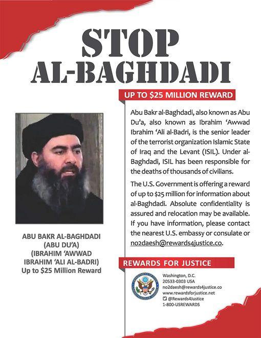 Abu Bakr al-Baghdadista annettu englanninkielinen etsintäkuulutus.