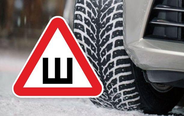 Venäjälle matkatessa autoon täytyy liimata nastarenkaista varoittava tarra.