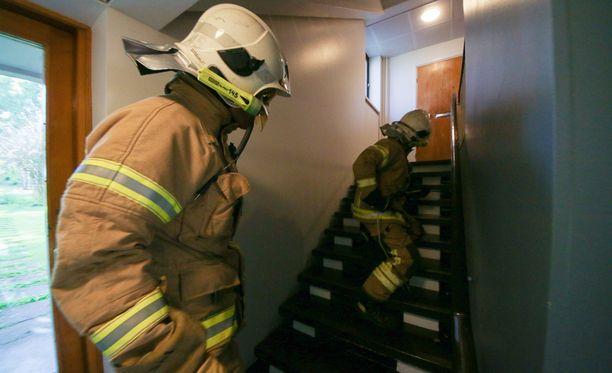 Palomiehet täysvarustuksessa pelastamassa kissaa portaikossa.