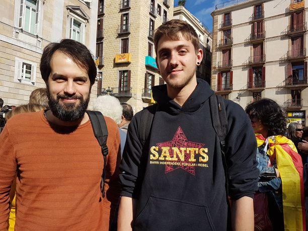 Toni (vas.) ja Alex kannattavat Katalonian itsenäisyyttä, mutta maltillisesti.