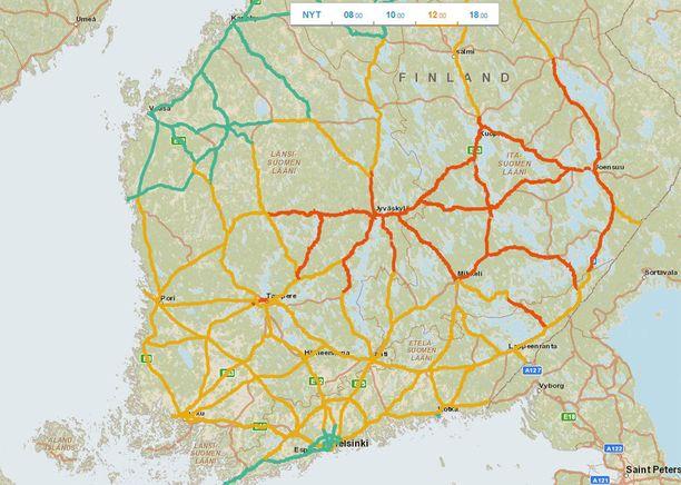 Keliennuste kello 12. Punaisella merkityillä alueilla on erittäin huono ajokeli, keltaisella huono ja vihreallä normaali.