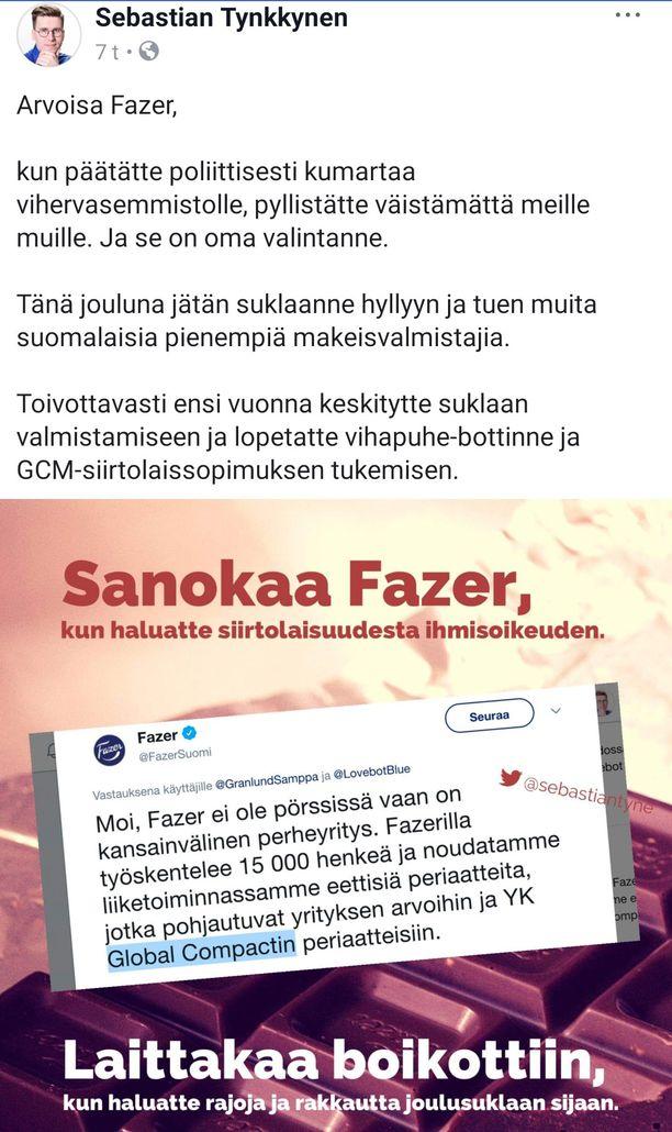 Kuvakaappaus Tynkkysen Facebook-julkaisusta. Tynkkynen poisti julkaisun myöhemmin.
