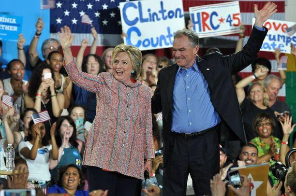 Hillary Clinton kertoi Tim Kainen ehdokkuudesta kampanjatilaisuudessa Kainen kotiosavaltiossa Virginiassa.