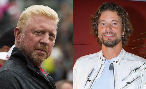Tennisvalmentaja Jari Hedmanilla (oik.) ei ole huonoa sanottavaa tapaamastaan Boris Beckeristä (vas.).