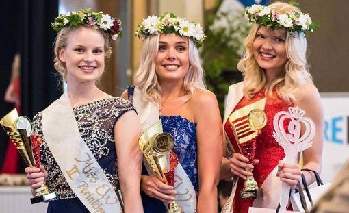 Miss Eloweena -kisan voittajakolmikko: toinen perintöprinsessa Henna Hakala, vas., voittaja Karita Haapanen sekä ensimmäinen perintöprinsessa Josefiina Kähönen.