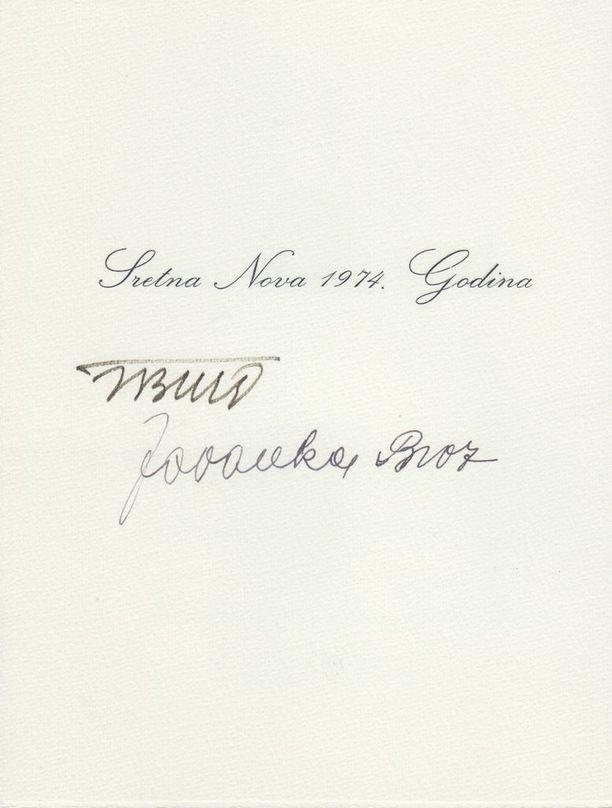 Tällaisen joulukortin Kekkonen sai Jugoslavian johtajalta Titolta vuonna 1979.