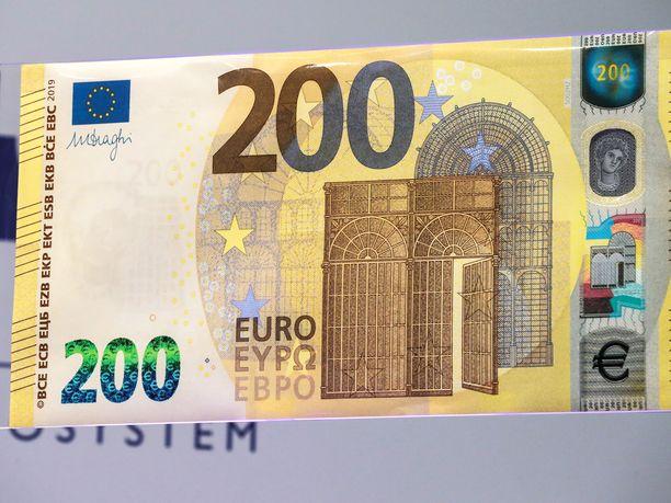 Tällaiselta näyttää viimeisin, uusi 200 euron seteli, siis aito sellainen.