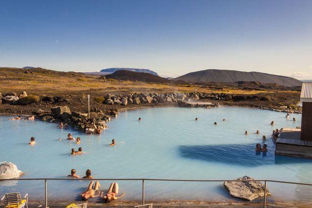 Mývatnin kylpylässä voi kokeilla myös höyrykylpyä.