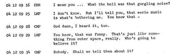 Nasan sivuilta löytyy litterointi astronauttien keskusteluista.