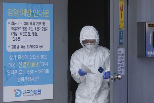 Etelä-Koreassa koronavirustartunnat lähtivät rajuun nousuun . Kuvituskuva Etelä-Korean Daegusta 20.2.2020.