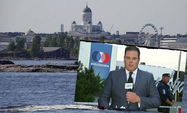 Kuvassa kuvakaappaus uusiseelantilaiskanava Newshubin maanantaiaamuisesta lähetyksestä, jossa suomalaispoliisi Jouni varasti show'n.