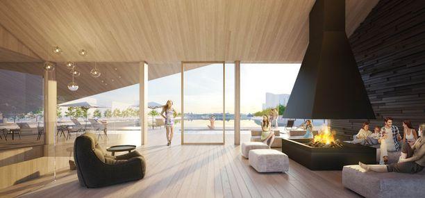 Myös sisätiloista suunnitellaan viihtyisiä ja rentoutumaan houkuttelevia.