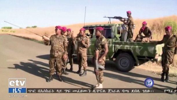 Etiopian joukkoja valtiollisessa televisiossa esitetyissä kuvissa.