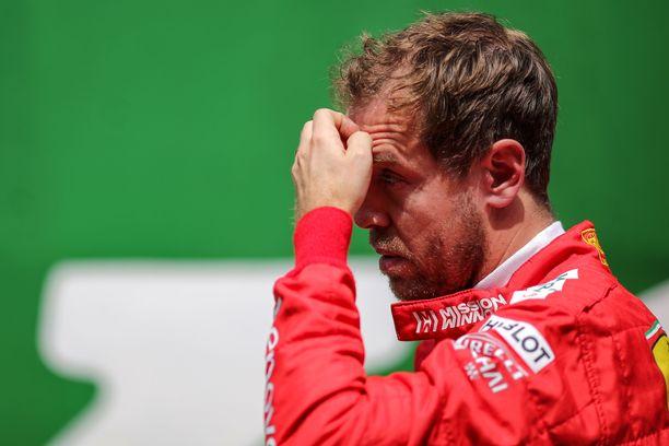Sebastian Vettelin ilme summaa hyvin Ferrarin tuloksen Brasilian GP:stä.