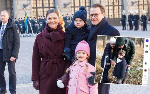 Nyt on suloista! Pikkuprinsessa Estelle mursi tammikuussa jalkansa - hyppii nyt kyynärsauvojen kanssa metsässä