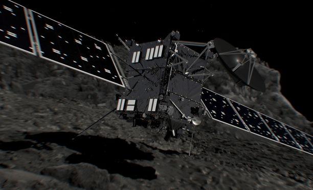 Taiteilijan näkemys Rosetta-luotaimesta ennen laskeutumistaan kohdekomeetalleen.