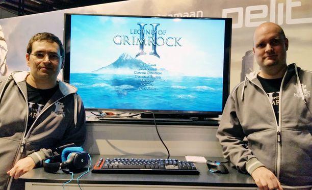 Almost Humanin Olli Pelz ja Juho Salila esittelivät Legend of Grimrock 2:ta Helsingin Digiexpossa.