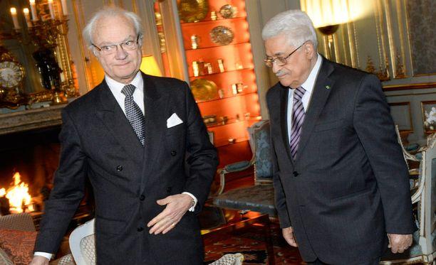 Ruotsin Kaarle XVI Kustaa ja Palestiinan presidentti Mahmoud Abbas