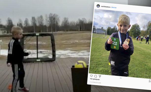 Wilmer Laakso, 6, on noussut jalkapalloa harrastavan pikkukuntansa maskotiksi.