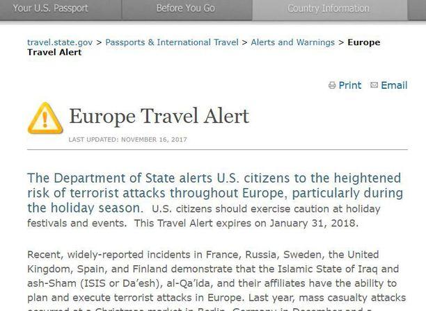 Yhdysvaltojen ulkominiseriö mainitsee Euroopan matkustusvaroituksessa myös Suomen.
